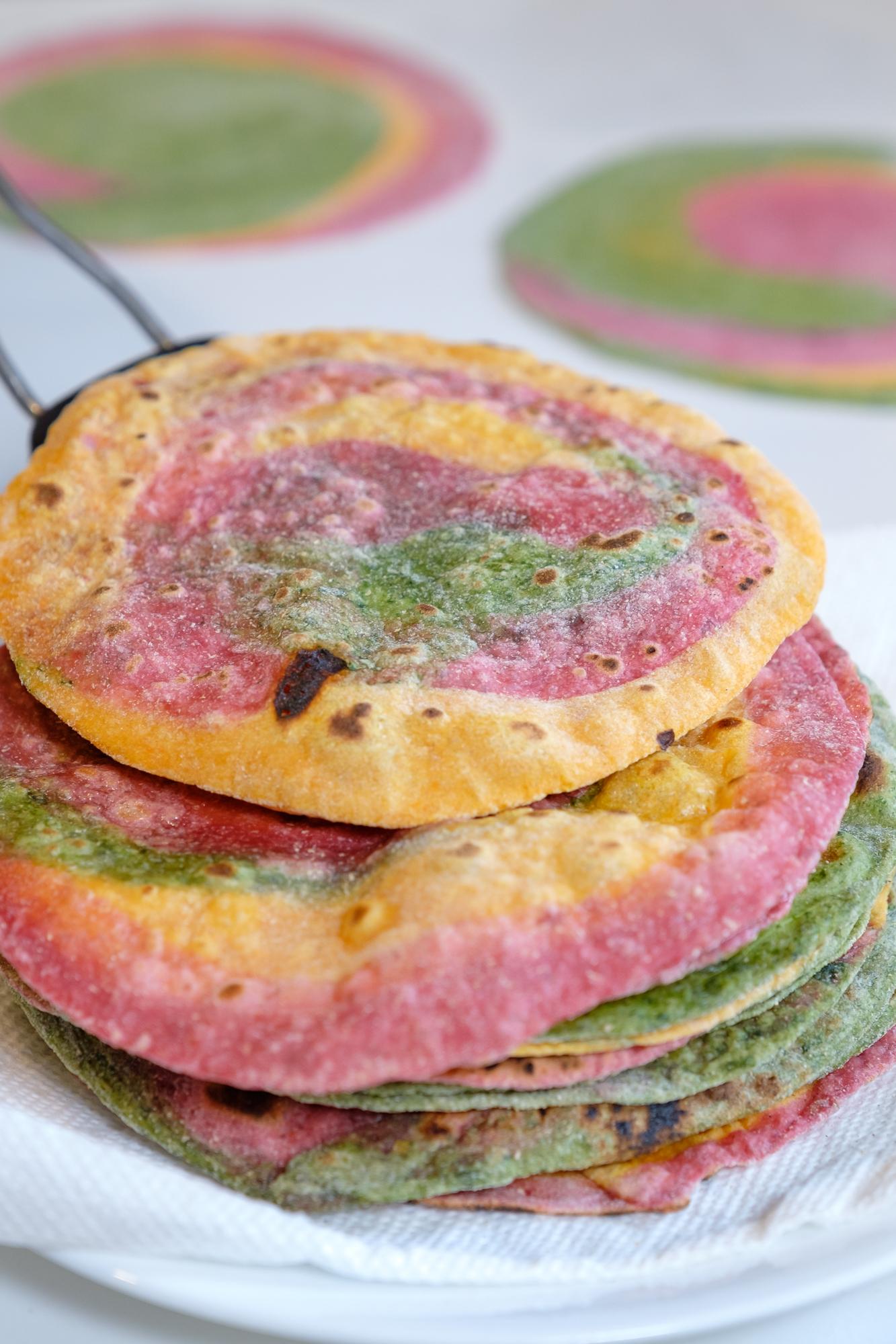 vegetable roti, rainbow roti