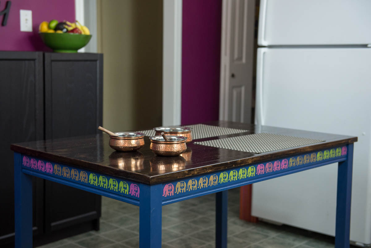 ikea dining table hack, jokkmokk table hack, pink chai