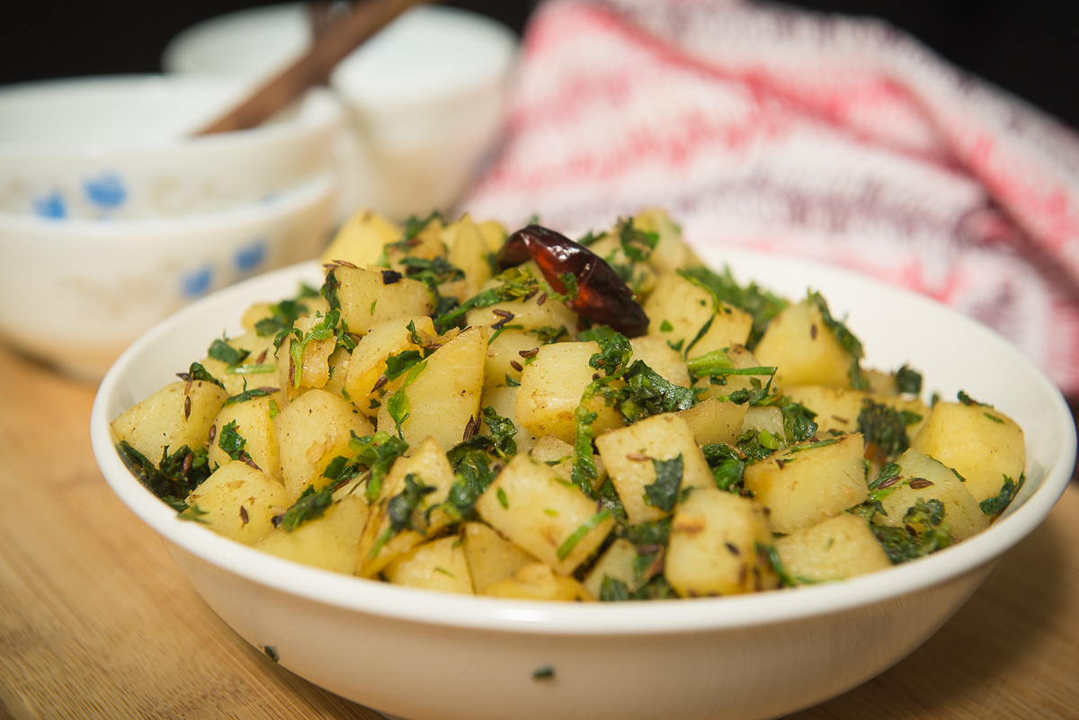 aloo methi sabzi, potato fenugreek sabzi recipe, pink chai living