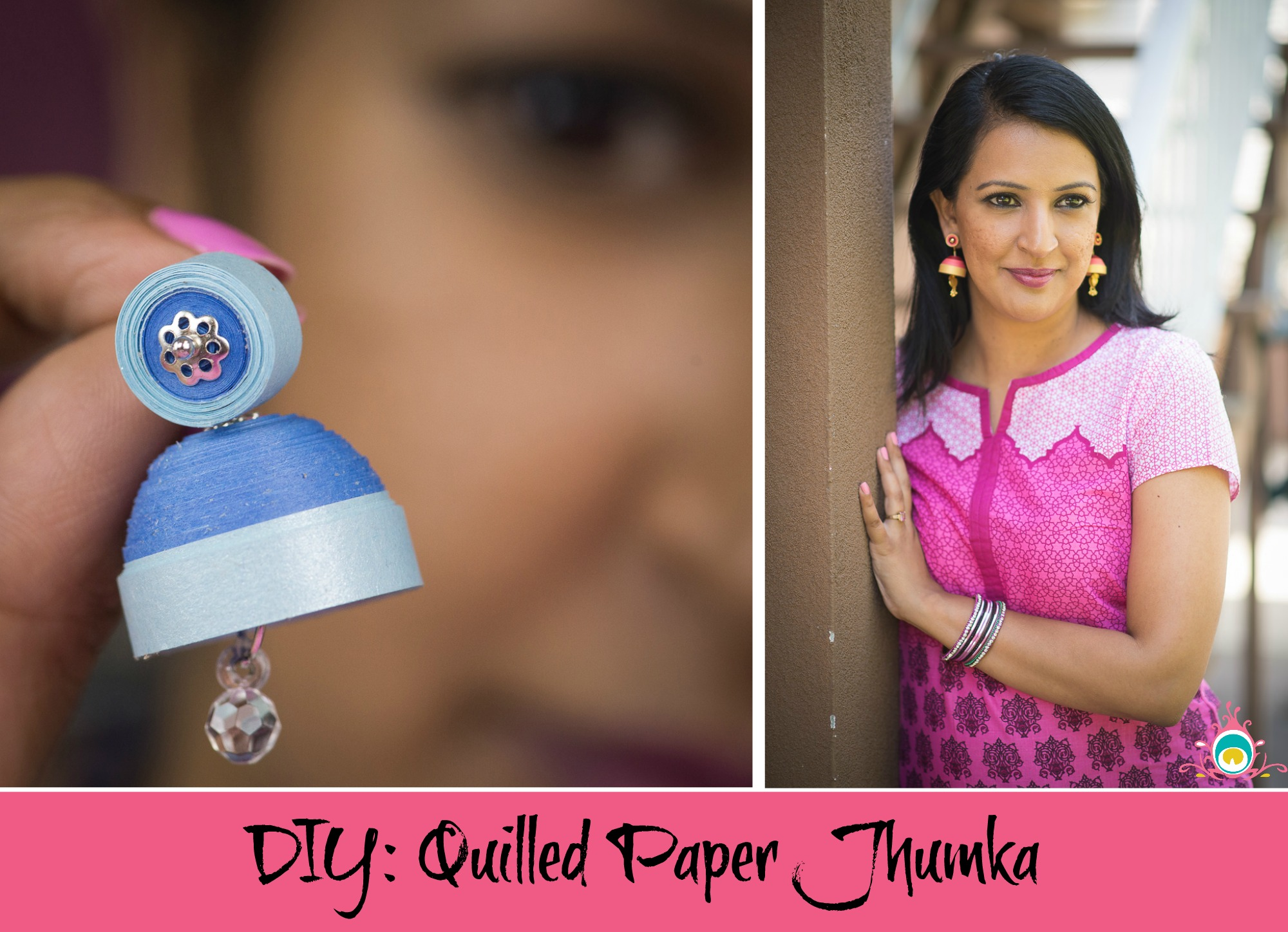 diy quilled paper jhumka - step by step instructions pink chai living