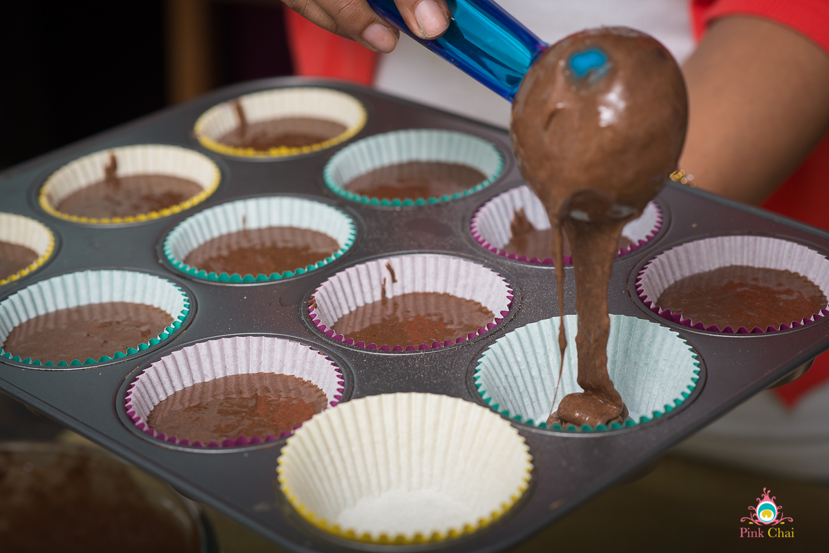 gulab jamun cupcakes - chocolate coconut cupcakes with a gulab jamun centre