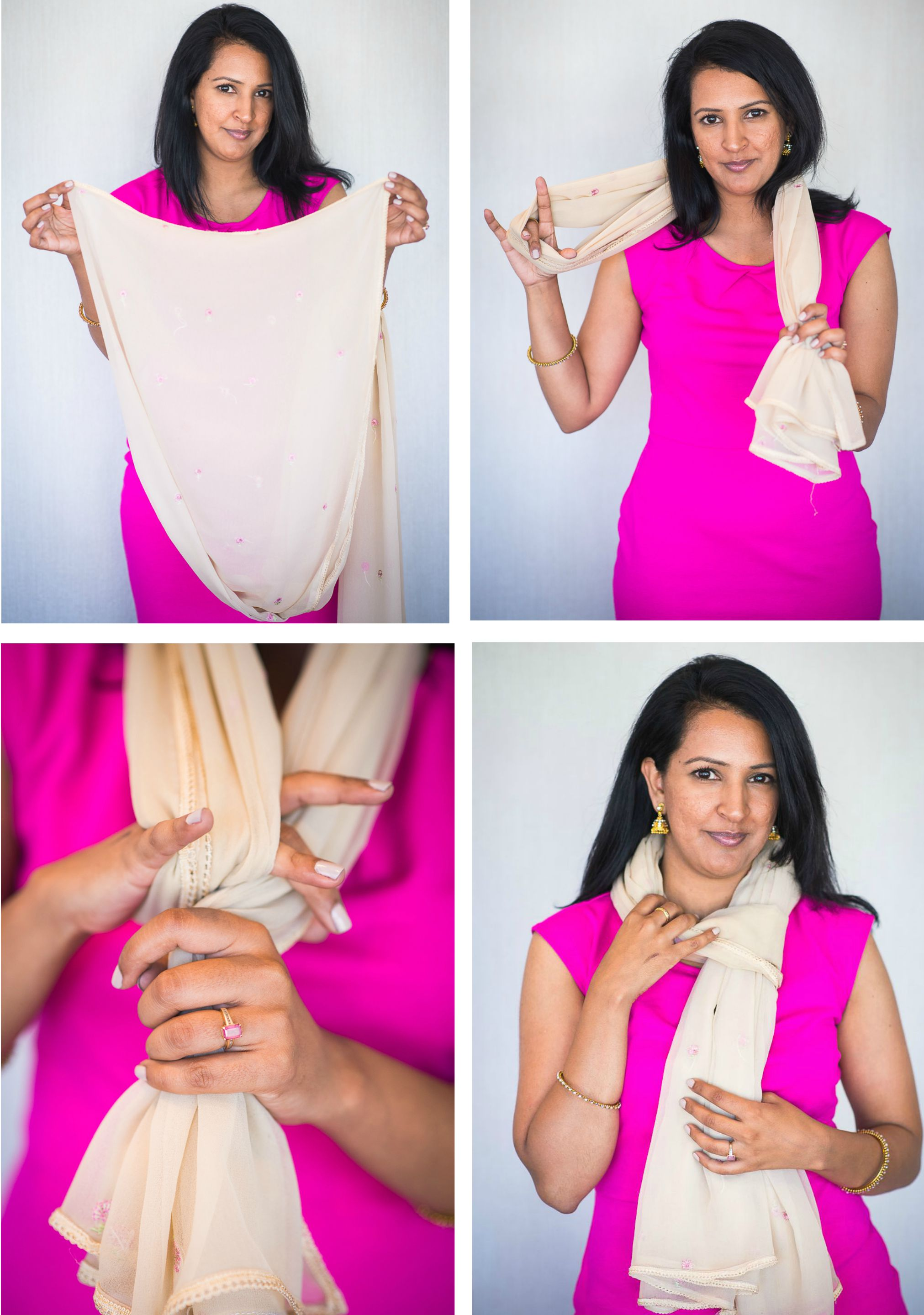 dupatta as a scarf, tips and ideas for styling, pink chai living