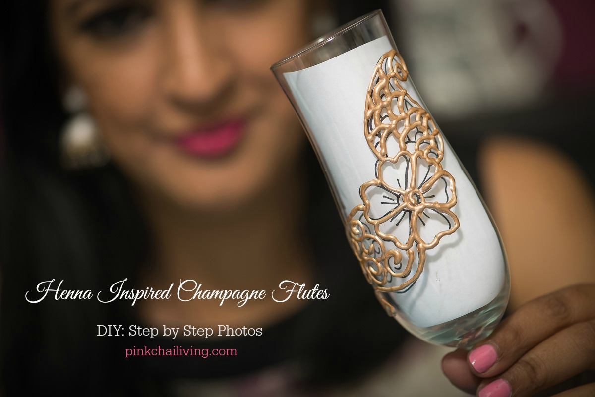 henna champagne flutes diy, pink chai living, with step by step photos