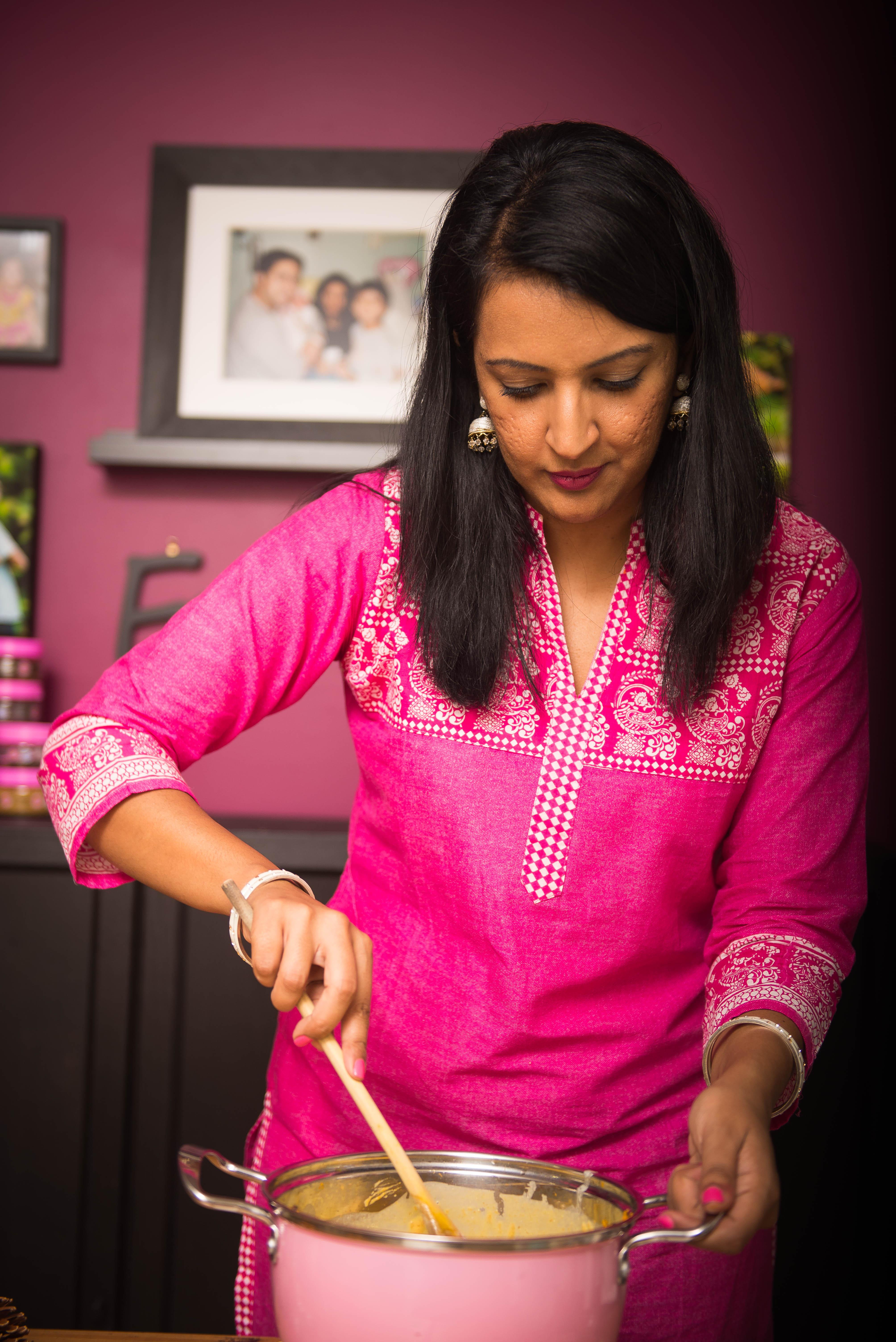 pumpkin kadhi, pink chai living