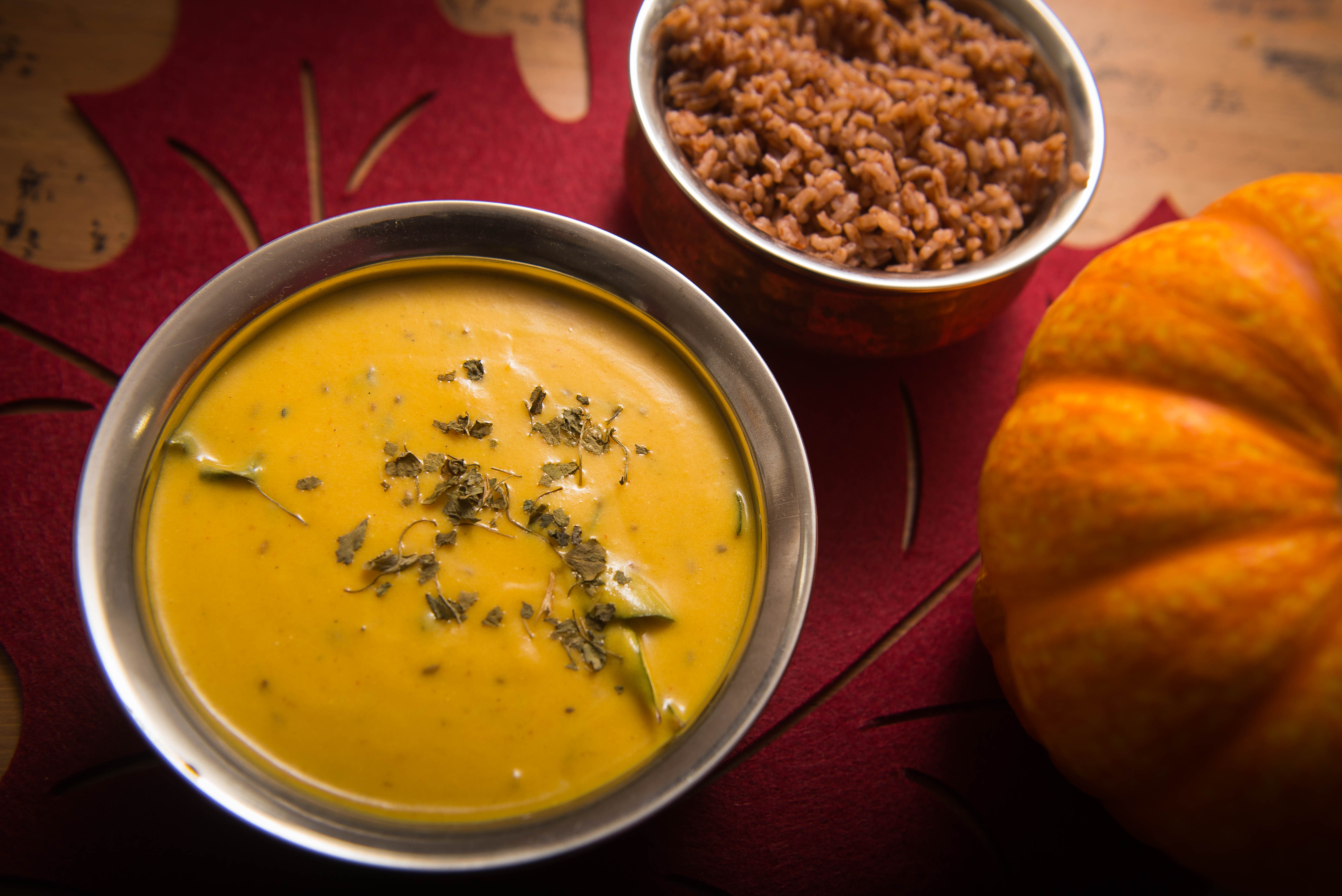 pumpkin kadhi, punjabi kadhi, pink chai living