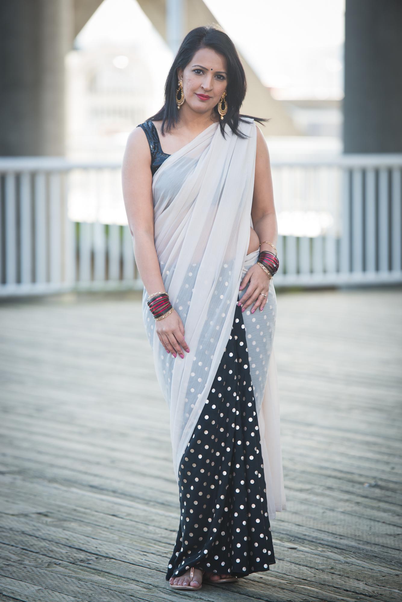diy double print sari