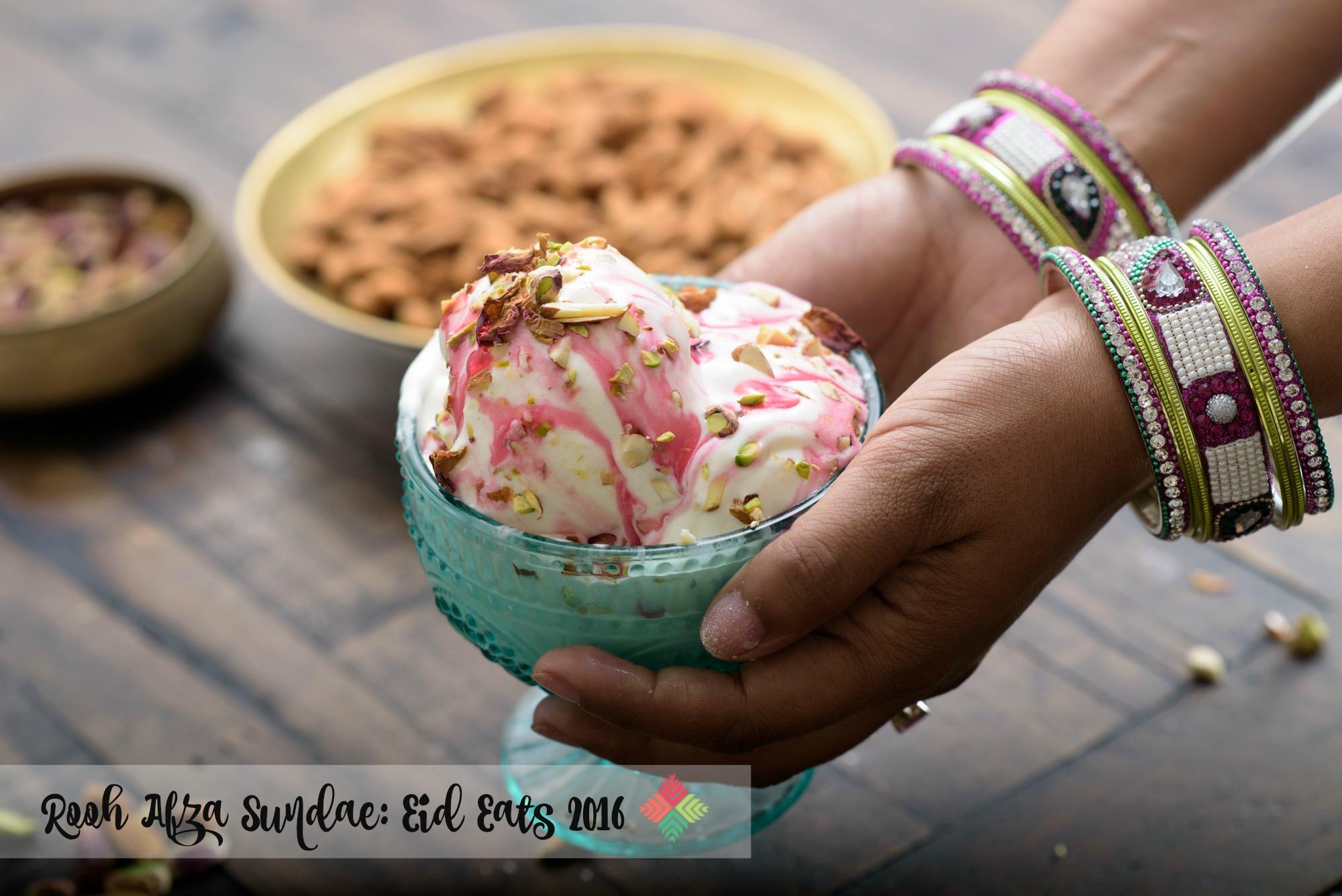 rooh afza sundae, eid desserts, pink chai