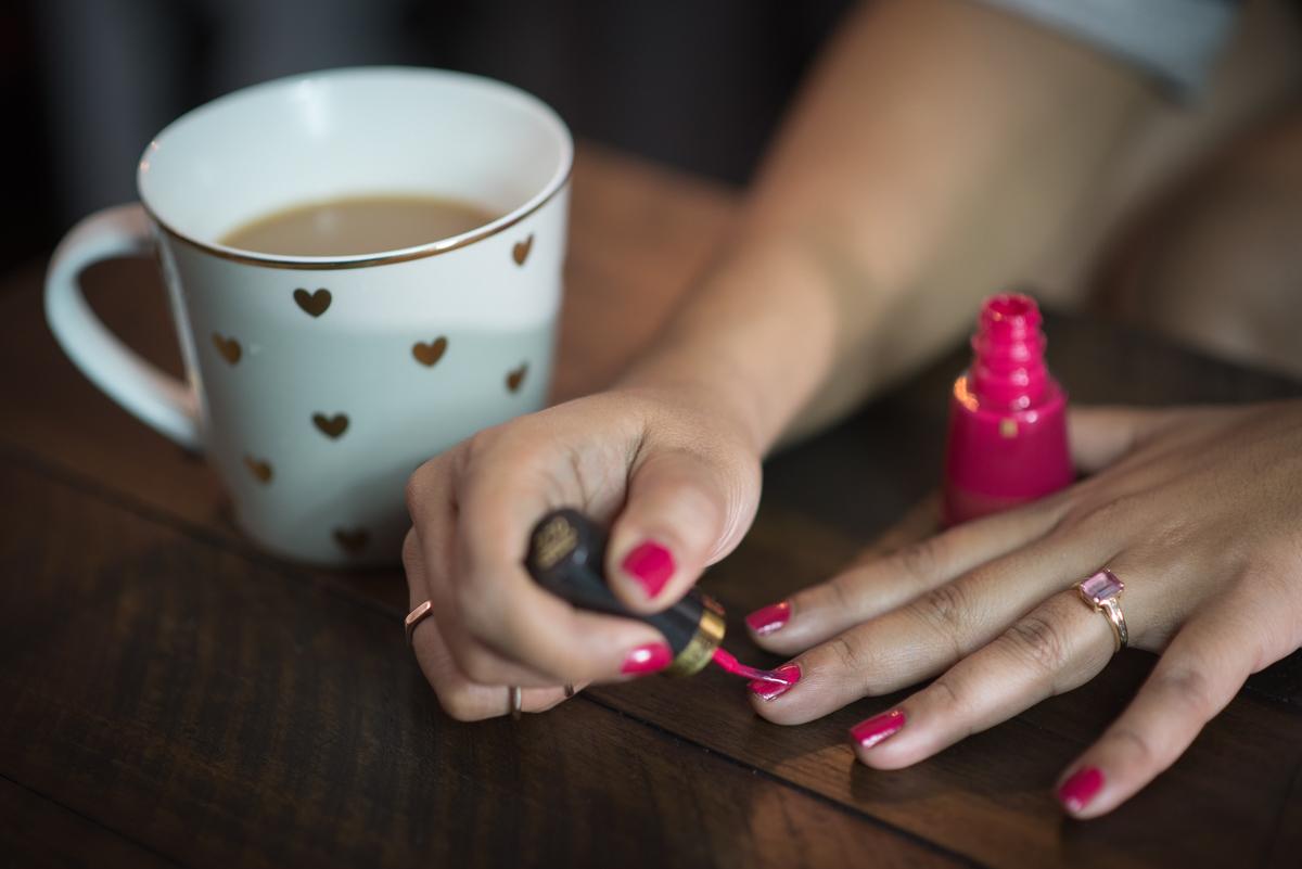Polish Shade Revlon Cherries In The Snow. Quitting Sac Nails Pink Chai Living