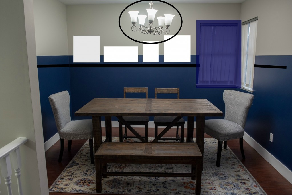 navy blue dining room plan