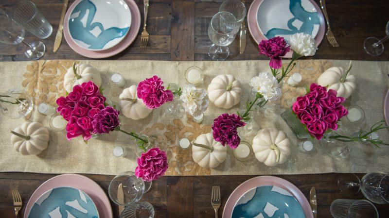friendsgiving decor, thanksgiving table top pink