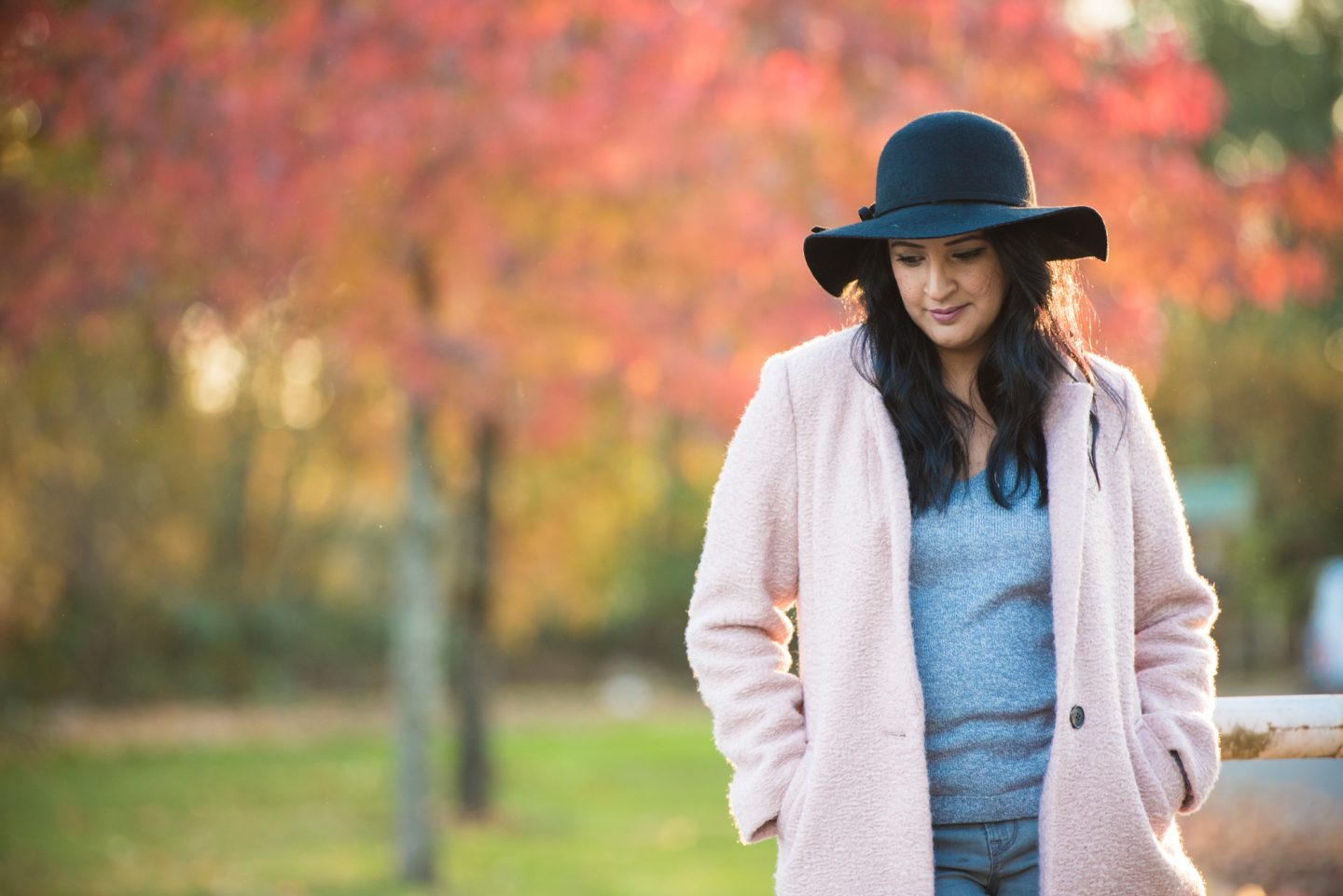 pink and grey fall outfit