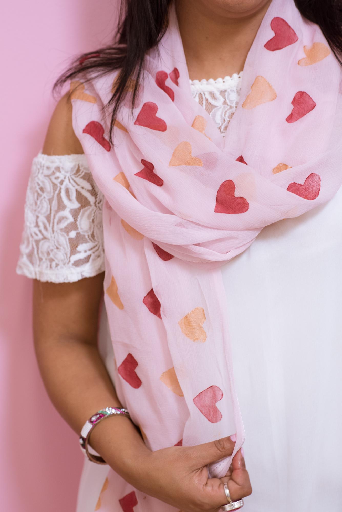 DIY Heart Print Dupatta | Pink Chai Living