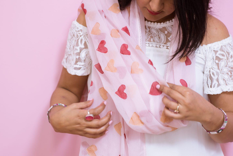 DIY Heart Stamped Dupatta | Pink Chai Living