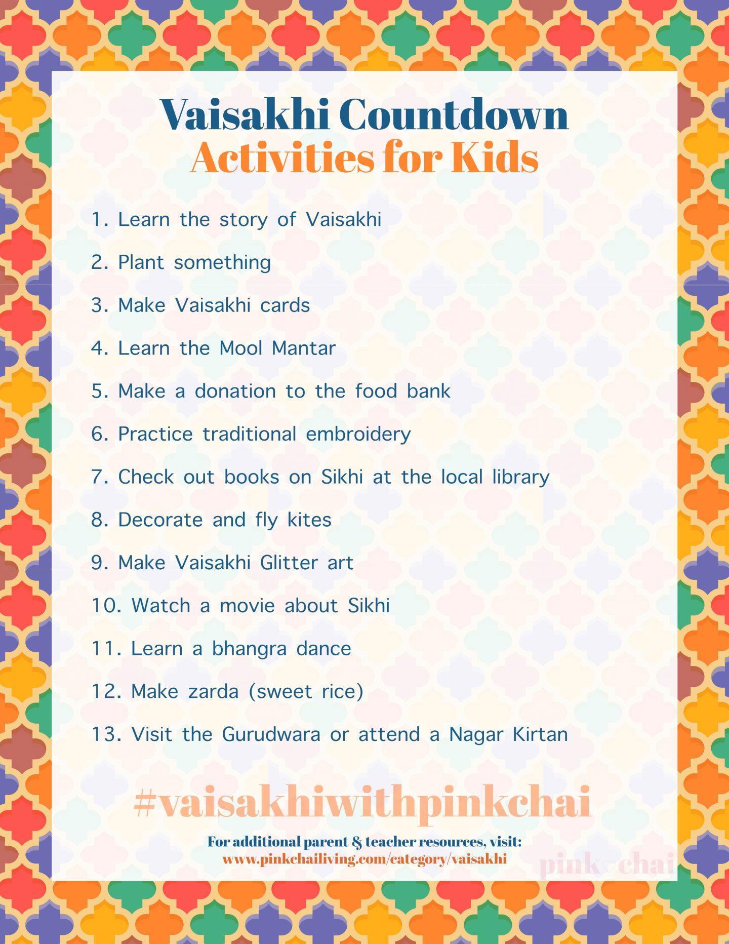 Vaisakhi Activities Countdown Calendar Pink Chai Living