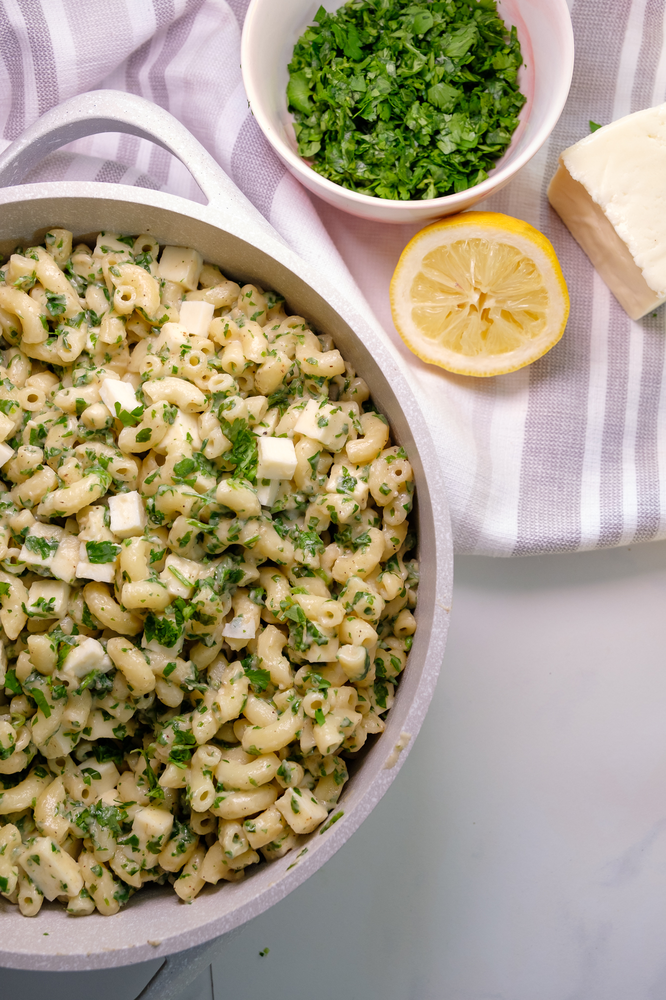 paneer and mixed herb pasta, pink chai living