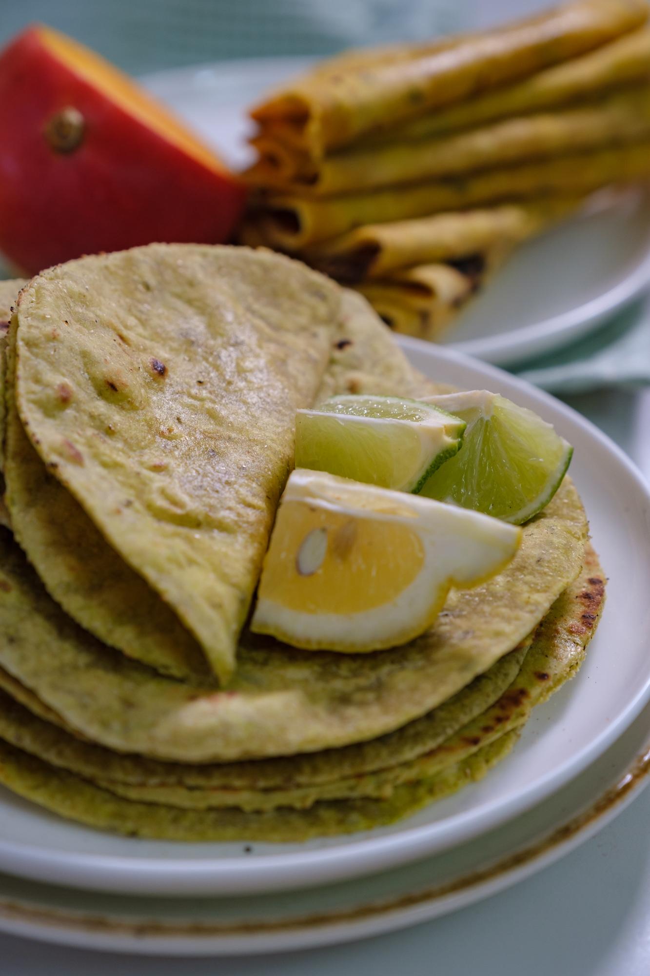 lime and basil roti, lime flatbread